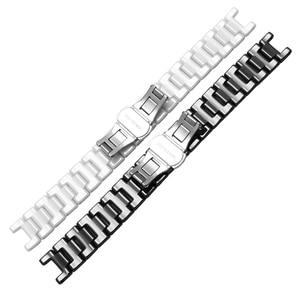 Image 4 - Ремешок для часов из жемчуга и керамики, вогнутый браслет диаметром 16*9 мм, разрешением 20*11 мм, цвет черный/белый