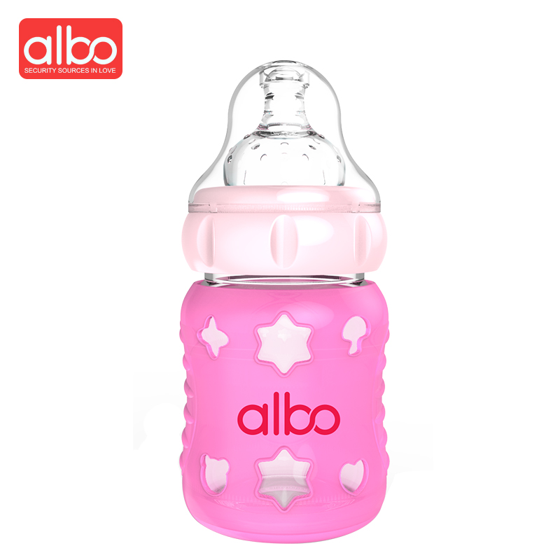 ALBO Hot Selling Fashion Thermochromic Silicone Cover Baby Feeding Bottle New Design Color Changing Safety Baby Milk Bottle