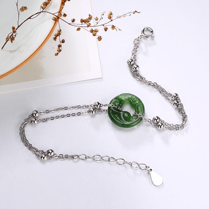 Puur zilver inlay tian jade herstellen oude manieren MS xiangyun vrede gesp gecontracteerd zilveren armband groothandel-in Armbanden & Armring van Sieraden & accessoires op  Groep 1