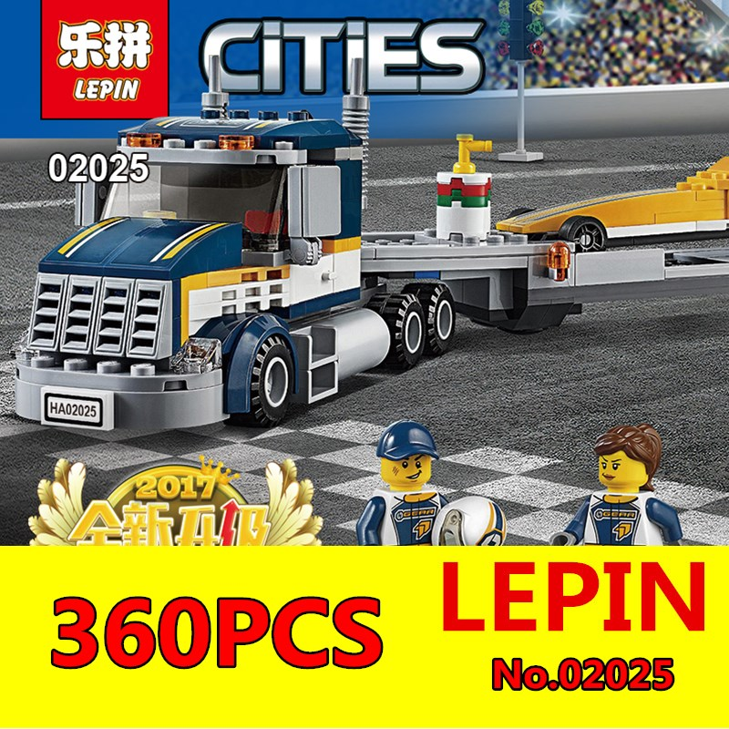 High Speed Racer Transporter Set LEPIN 02025 360Pcs City Series Children Educational Building Blocks Bricks Toys Model 60151 lepin 02025 city the high speed racer transporter 60151 building blocks policeman toys for children compatible with lego