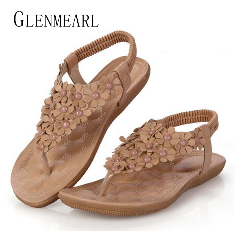 5f8c6c677484 2019 New Summer Leather Flat Women Sandals Flip Flops Shoes Flower String  Bead Bohemia Lady Beach Shoes Single Flat Slippers 35