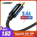 Ugreen Micro USB Кабель 2.4A Нейлоновый Шнур для Зарядки Телефона USB-кабель Провод для Быстрой Зарядки для Samsung s Huawei Xiaomi HTC LG Планшет Android зарядное устр...