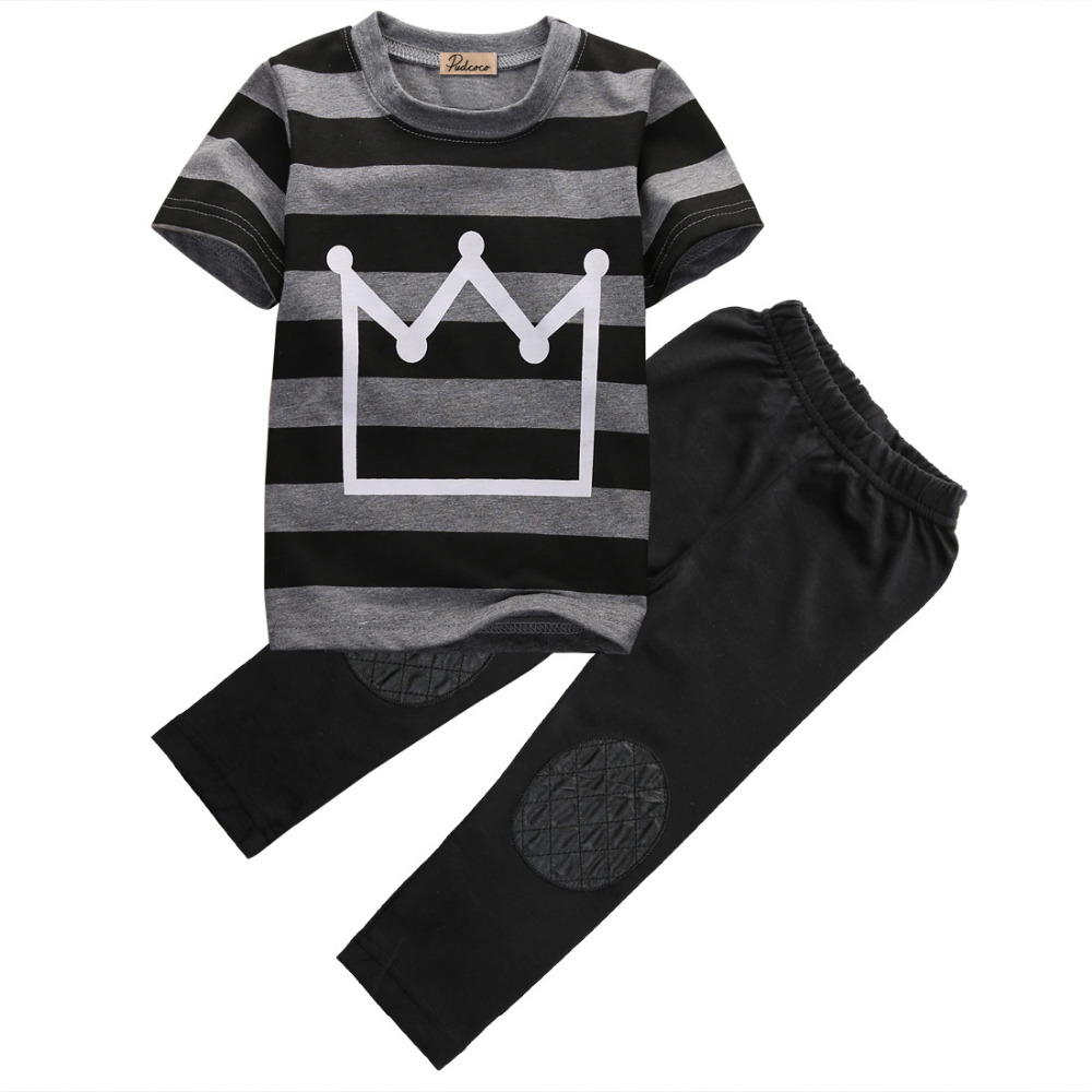 Baby Boys Cotton Clothes Set Children Cool Newborn Crown Striped Short sleeve T-shirt Tops Pants Black Fashion Boys 2pcs family fashion summer tops 2015 clothers short sleeve t shirt stripe navy style shirt clothes for mother dad and children