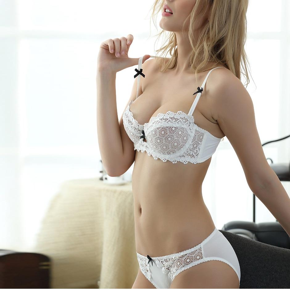 Buy Ultrathin lingerie set plus size bras B C D Half Cup sexy lace bra set transparent women underwear embroidery Bow Bra + Briefs