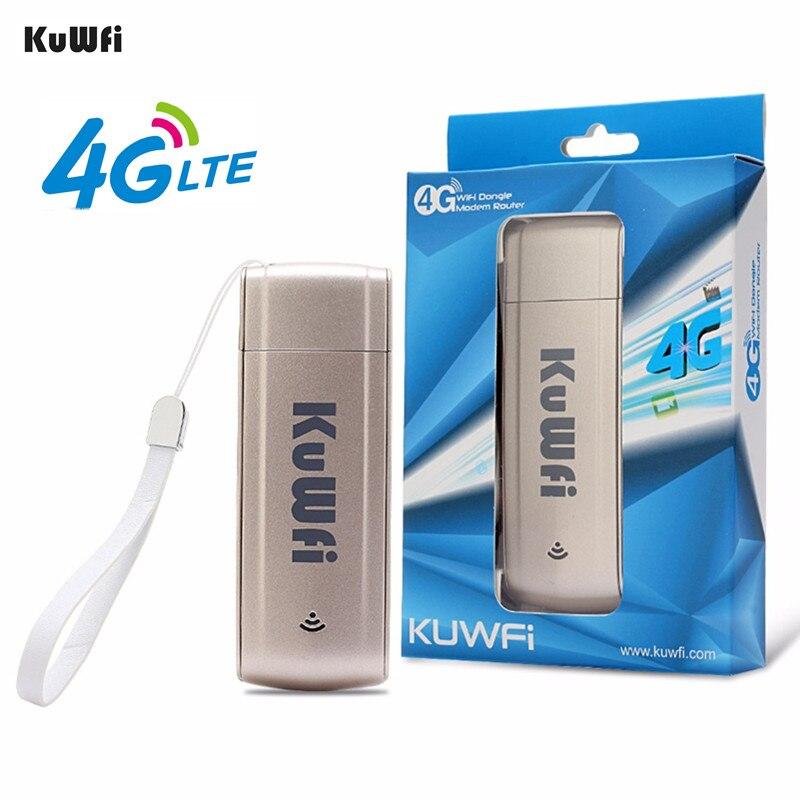 KuWFi 4G Modem LTE USB Dongle Wi-fi móvel Wi-fi Hotspot Rede mini 3G 4G Modem Roteador Wi-fi com Slot Para Cartão SIM para o Carro ao ar livre
