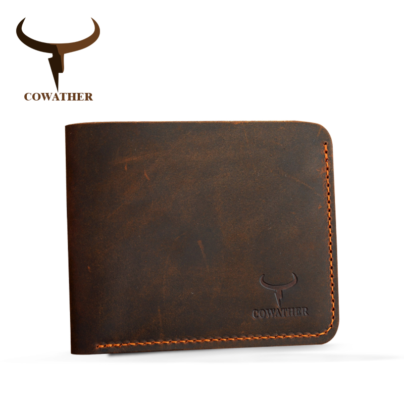 COWATHER Crazy horse leather men wallets Vintage genuine leather wallet for men cowboy top leather thin to put free shipping цена