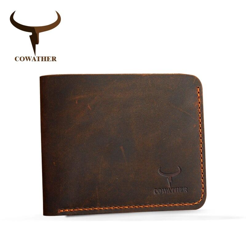 Cowather crazy horse hombres de cuero carteras billetera de cuero genuino de la vendimia para los hombres de vaquero superior de cuero delgada poner envío gratis