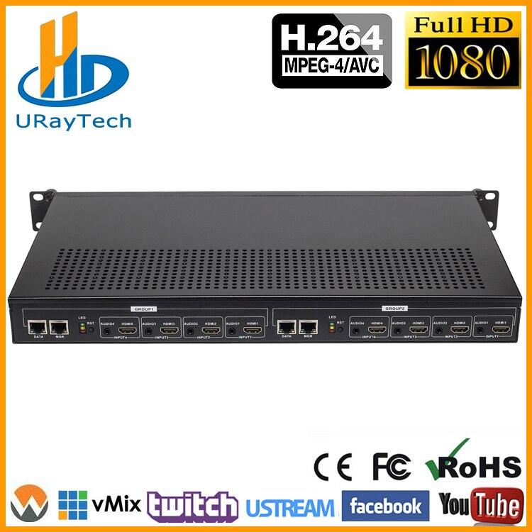 Rack de 1U MPEG-4 8Ch H.264 HDMI Codificador De Stream de Vídeo Ao Vivo Canais de Streaming HD IPTV Codificador 8 HDMI Para HTTP RTSP HLS Codificador RTMP