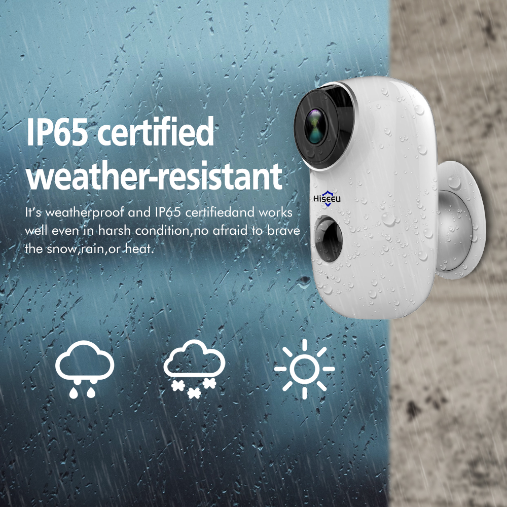 1080P WIFI Battery Camera IP Outdoor Rechargeable Wireless IP Camera PIR Waterproof Motion Detect App View Hiseeu in Surveillance Cameras from Security Protection