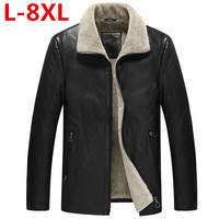 new plus size 8XL 7XL 6XL Winter Men's Genuine Leather Jackets Brand Brown Sheepskin Jacket and Coats with Fur Wool Collar Warm