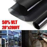 Window Tint Film 20x200FT 50%VLT Black Window Glass Film Auto Solar Protection Window Foils Film Sticker for Car Side Window