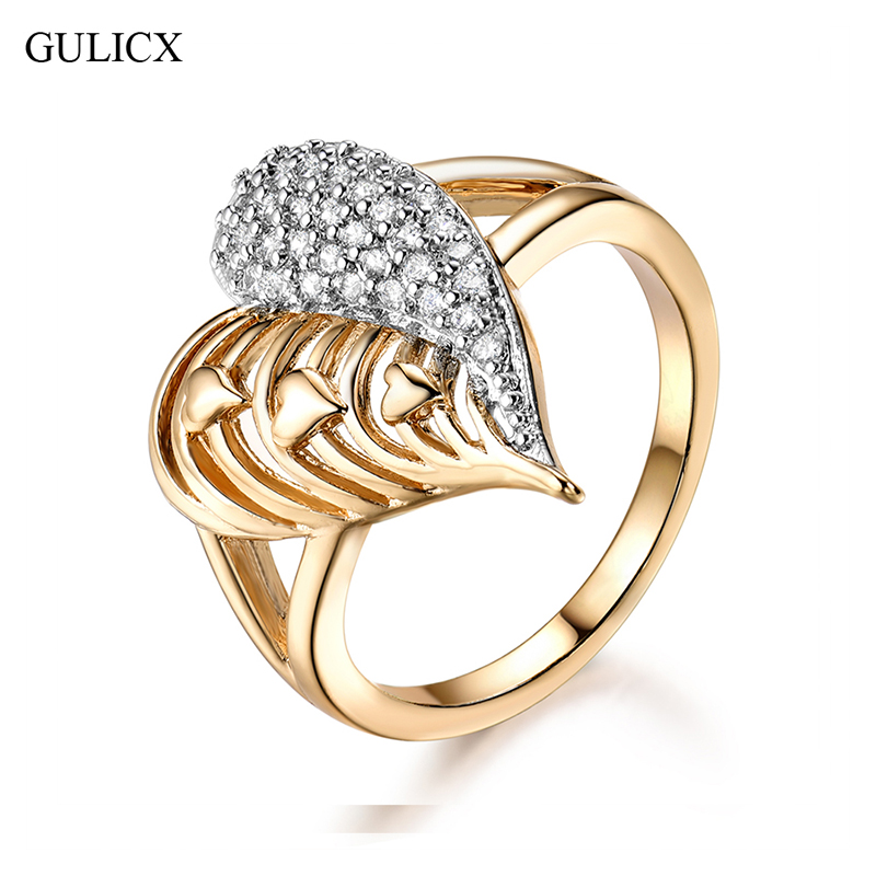 GULICX Hollw Heart Design Women Engagement Rings Micro Paved Cubic Zirconia Ring Jewelry CZ Paved Silver Color For Wedding