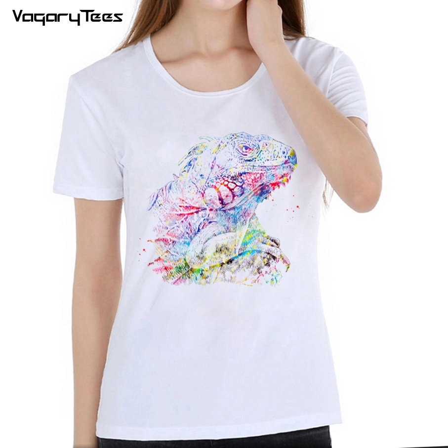 Watercolor Painting Chameleon Lizard Printed Short Sleeve Top T-shirts girl Tops & Tees Cool T Shirt Womens