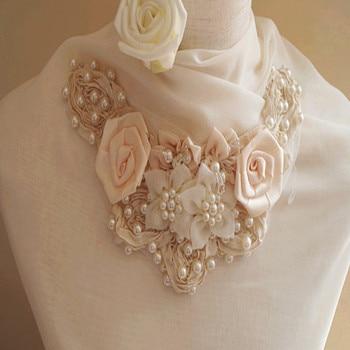 Pearl Beading applique, rosette fabric applique, bridal applique, corsage, fabric applique, bead emblishment фото