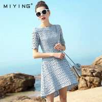 MIYING 2017 Summer Dress Slash Neck Hollow Out Embroidery A Line High Class Lace Dress