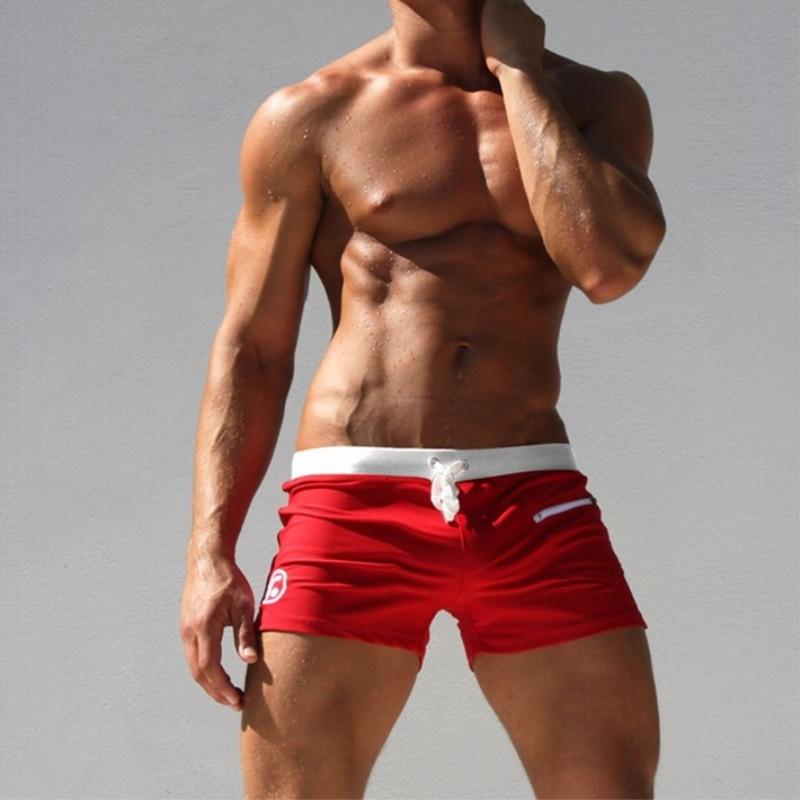 c6423d66db6 Low-Rise Men Swimwear Men's Swimming Trunks Mens Swimsuit Red Man Bathing  Suits Beach Wear Sexy Shorts High Quality Beachwear