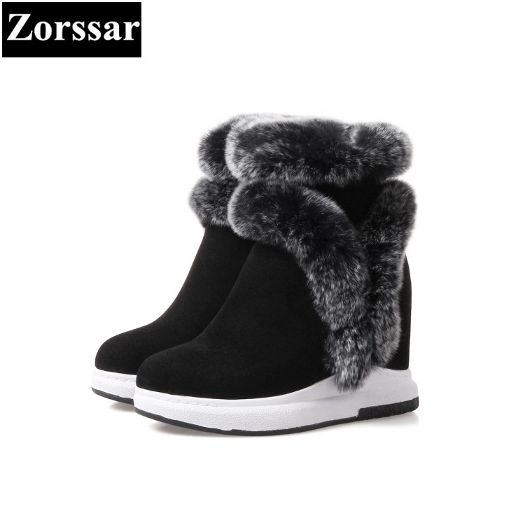 {Zorssar} 2018 NEW arrival fashion Women Boots Suede Round Toe Casual Height increased ankle snow boots winter warm female shoes 2016 new arrival ankle boots for women fashion winter shoes warm plush snow boots shoe bowtie women boots polka dot botas mujer