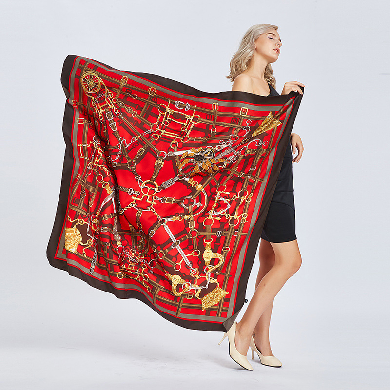 New Fashion Twill Silk Women   Scarf   130*130cm Warm Cashew Floral Print Square   Scarves     Wraps   Luxury Brand Super Large Gift Shawls