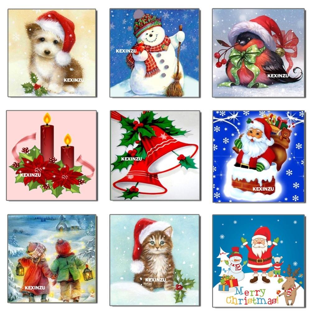 Рождественская открытка в подарок на декабрь 25,2019, картина из квадратных и круглых страз 5D «сделай сам», 3d бусины, вышивка крестиком, подарок