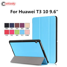 "Voor HUAWEI MediaPad T3 10 9.6 ""Case Flip Cover voor HUAWEI T3 10 (9.6 inch) Tablet 3 Fold Stand Leather Fundas Shell Coque Capa(China)"