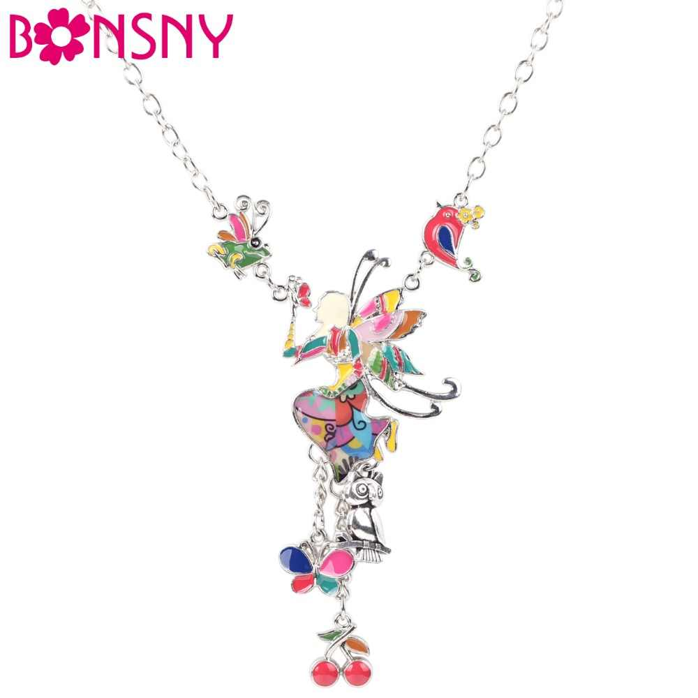 Bonsny Maxi Alloy Butterfly Fairy Enamel Jewelry Colorful Pendant 2016 New Novelty Jewelry For Women Statement Charm