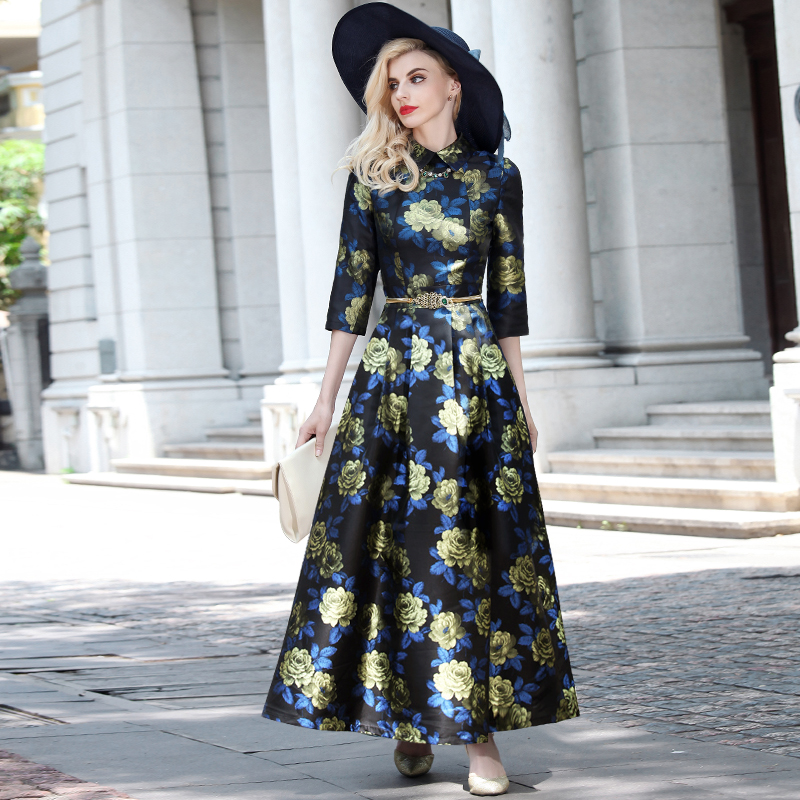2016 good quality women fashion dress autumn winter long maxi floral print  dress 35912fe052f1