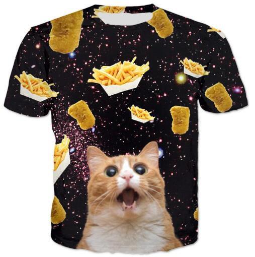 Comida de gato T Shirt Pizza Hambúrgueres Batatas Fritas Alimentos  Saudáveis Alimentos t camisa 3D Impresso Tees Hipster Crewneck Verão O  pescoço Topos ... 7b90a71dd6