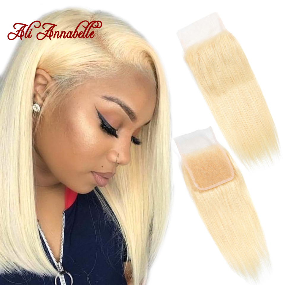 Peruvian Human Hair Straight 613 Blonde 4X4 Swiss Lace Closure with Baby Hair Middle/ Free Part Lace Closure Remy 10-18 Inch image