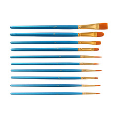 10Pcs/Set Watercolor Gouache Paint Brushes Different Shape Round Pointed Tip Nylon Hair Painting Brush Set Art Supplies