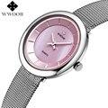 Wwoor marca de relojes de lujo de las mujeres casual de las señoras ultra-delgado reloj de cuarzo rosa dial mujer reloj de pulsera de moda de acero relojes