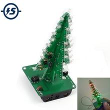 5pcs 7 Colors 3D Christmas Tree LED Flash DIY Kit Three Dimensional Colorful RGB Circuit Kit Electronic Fun Suite Christmas Gift