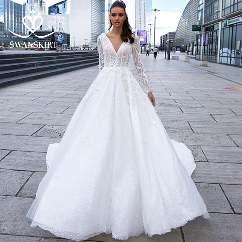 Graceful Appliques Long Sleeve Wedding Dress 2019 Swanskirt Empire V-Neck A-line Princess Bride Gown Vestido De Noiva F119