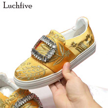 Luchfive 2018 silk embroidery ladies Shoes bling crystal buckles slip on lazy loafers platform flat heels rhinestone Shoes Women
