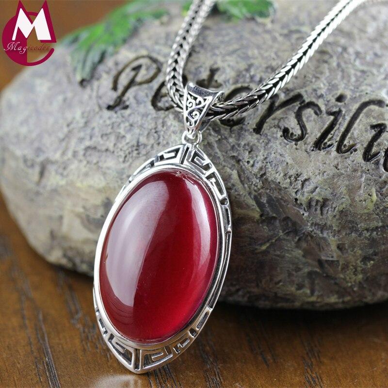 Grosses pierres précieuses Bijoux 20mm * 30mm Ovale Rouge pendentif en rubis Vintage Creux Motif Réel 925 Sterling collier en argent Femmes RP01