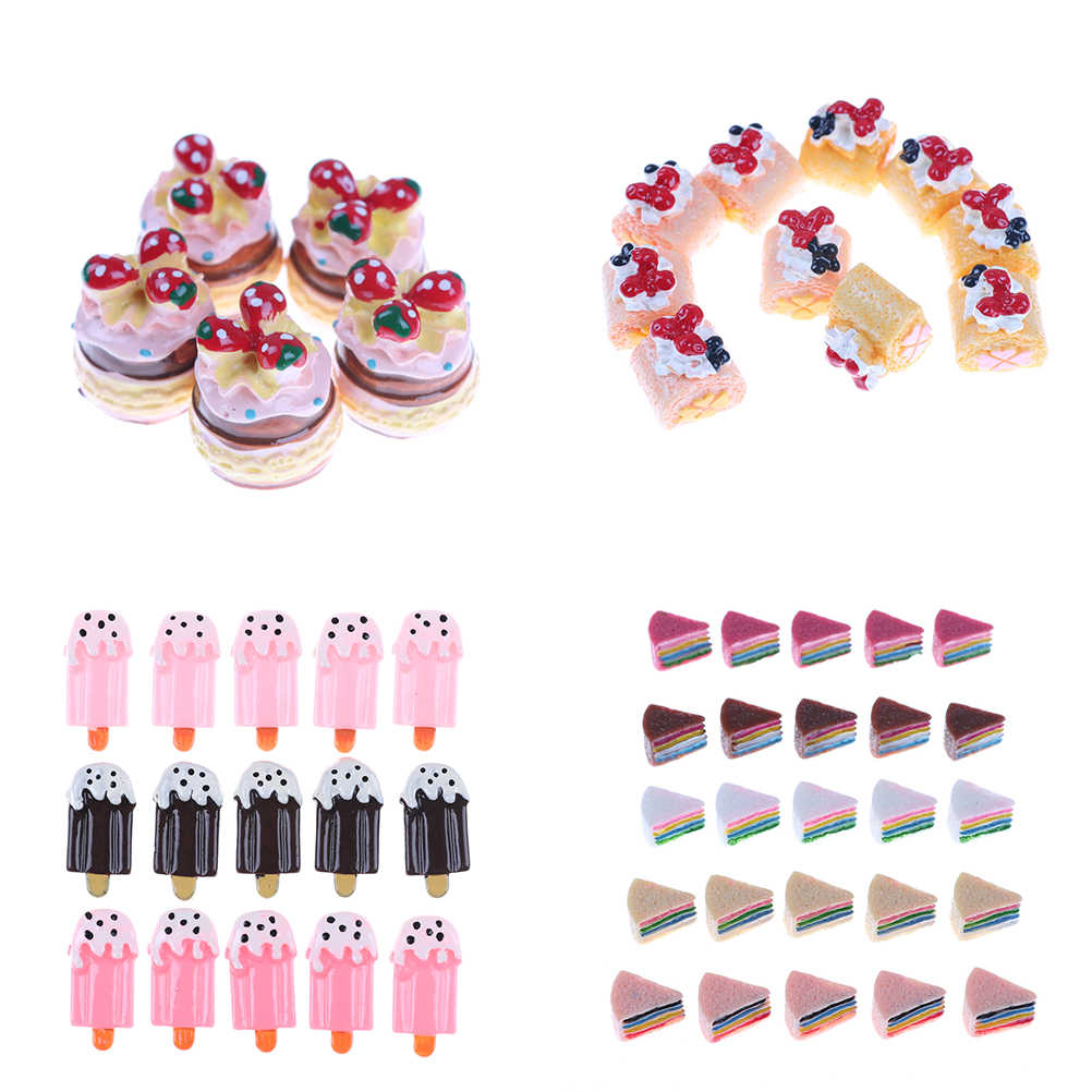 5PCS Colorful Mix Straberry Cake Ice Cream Mini Miniature Candy Cake Resin Cabochons For Phone Deco, Jewelry Accessory DIY