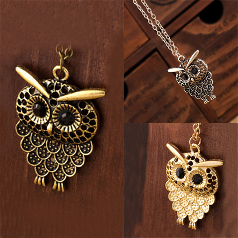Fashion 1 Pc Vintage Lovely Owl Pendant Neclace Golden Antique Silvery Bronze Long Sweat ...