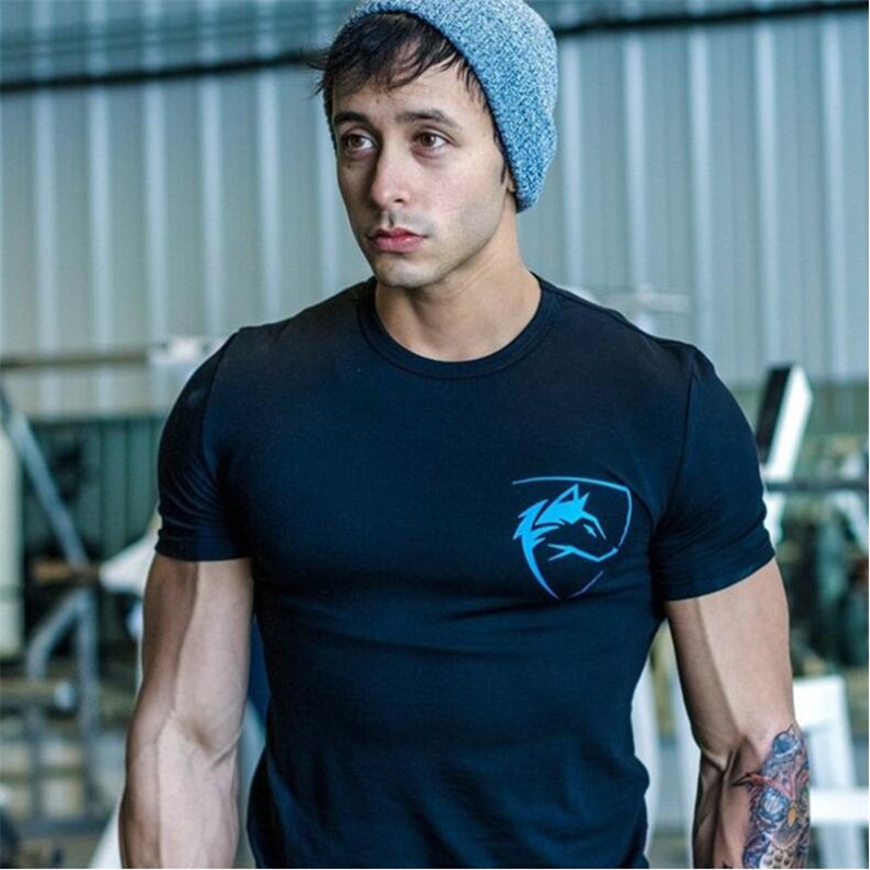 Men Short sleeved cotton   t     shirt   2018 Summer New Gyms Fitness workout Crossfit male Fashion Casual Print Slim Tee tops clothing