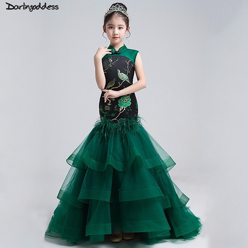 2018 Chinese Style Green Mermaid First Communion   Dresses   for   Girls   Kids Pageant   Flower     Girl     Dress   for Weddings Real Photos