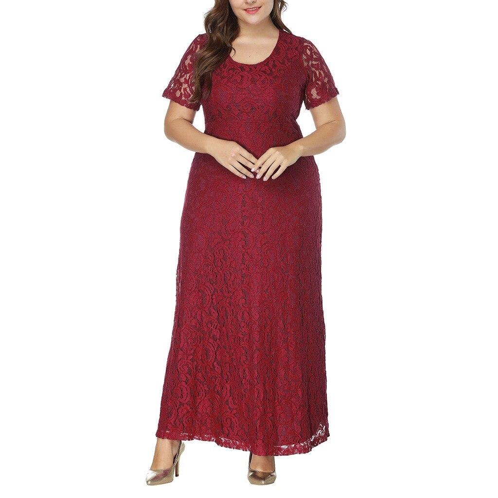new hot dresses woman 2019 Women Solid Oversize Vintage Floral Lace Plus size Cocktail Formal Swing Dress Vestidos De Festa