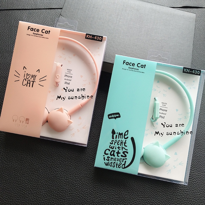 Cute Face Cat Headphones Over-Ear Music Stereo Headphone With Microphone Headset for mob ...