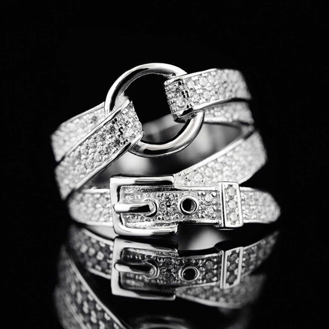 Adjustable Silver Belt Shape Band Ring Crystal Zircon Stone Fashion Jewelry for Women Party Valentine's Day Gift