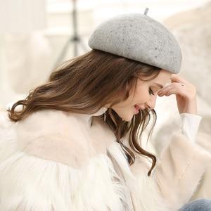 Image 4 - เลดี้ฤดูใบไม้ร่วงและฤดูหนาว Grace คืน Solid ขนสัตว์หมวกผู้หญิง Banqute Pure Wool Felt Beret หมวก