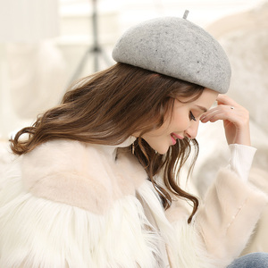 Image 4 - Lady Autumn And Winter Grace Restore Solid Woolen Hats Women Banqute Pure Wool Felt Beret Caps