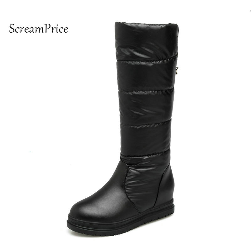 Winter Warm Slip On Knee High Boots Boots Fashion Platform Height Increasing Dress Calf Boots Round Toe Shoes Black woman winter warm platform height increasing slip on snow boots fashion round toe dress calf boots black pink white