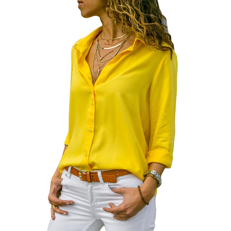 Autumn Blouse Women Solid Womens Tops And Blouses Big Sizes Plus Size 2018 Chiffon Blouse Long Sleeve Work Wear Office Blouse    4