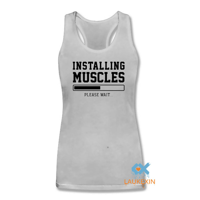 4a75ab257a7f4 INSTALLING MUSCLES FUNNY Gold Print Slogan Singlets Vest Swag Sleeveless  Bodybuilding stringers Vest Women Tank Tops