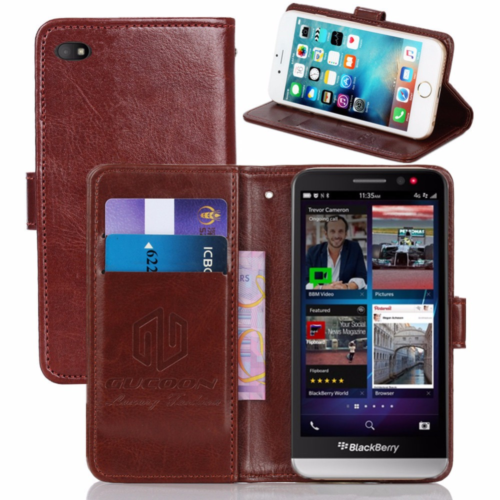 GUCOON Vintage Wallet Case for BlackBerry Z30 5.0inch PU Leather Retro Flip Cover Magnetic Fashion Cases Kickstand Strap(China)