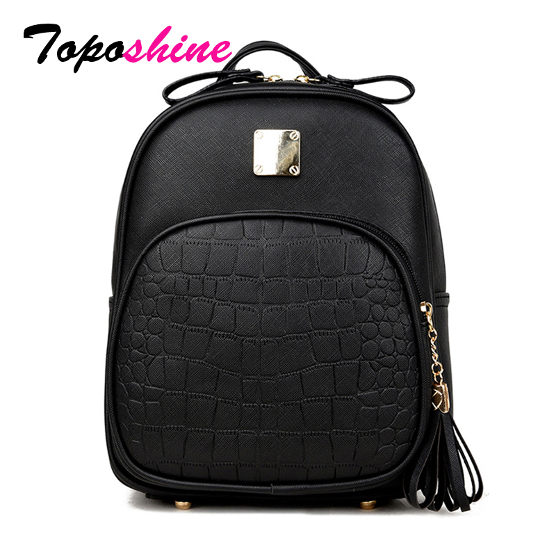 Toposhine 2018 New Korean Backpacks Fashion PU Leather Shoulder Bag Crocodile Pattern Small Backpack Embossed School Bags 1560