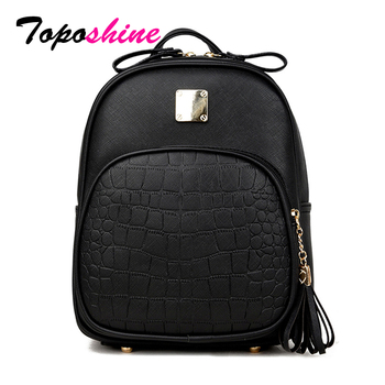 Toposhine 2018 New Korean Backpacks Fashion PU Leather Shoulder Bag Crocodile Pattern Small Backpack Embossed School Bags 1560