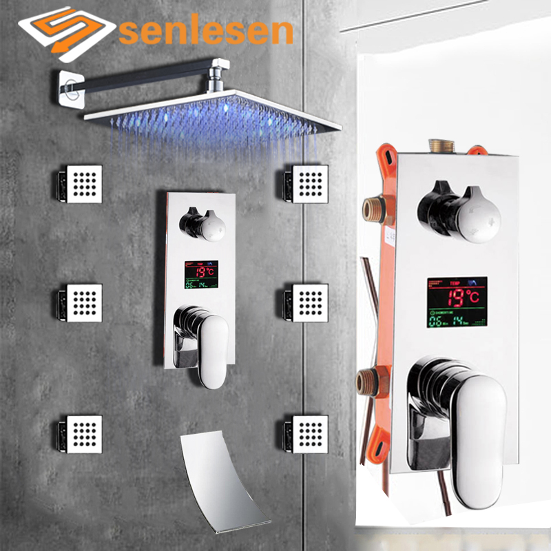 купить Digital Mixer Tap Bathroom Shower 3 Function Digital Shower Faucets Set LED Rainfall Shower Head Waterfall Spout 3 way по цене 12443.54 рублей